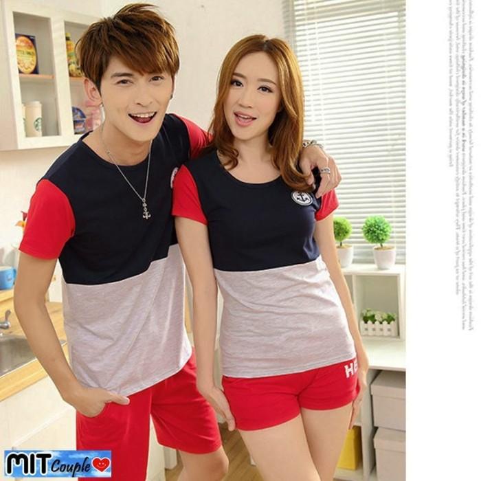 harga Kaos couple sailor kombinasi lengan pendek - baju pasangan salur Tokopedia.com