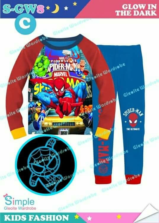 Jual Baju Tidur   Piyama anak laki laki Spiderman Glow in The Dark ... 639f97afe3