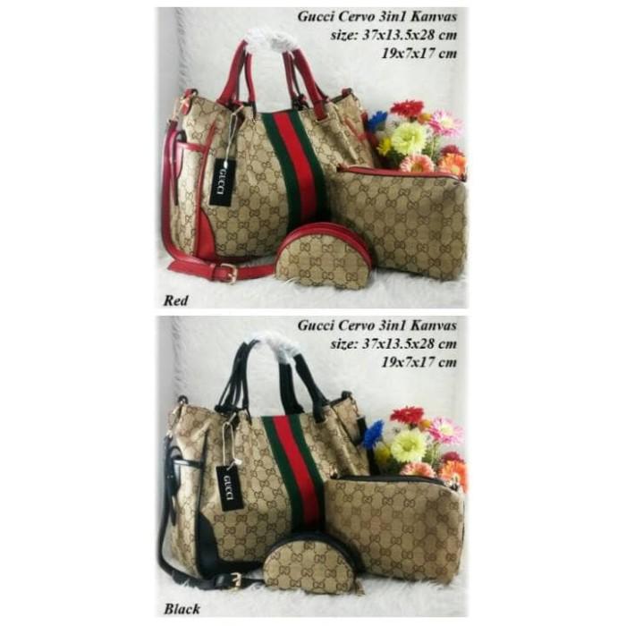Jual Tas Fashion Wanita Gucci Cervo 3In 1 Kanvas Set Dompet I Guci ... 648af249b4
