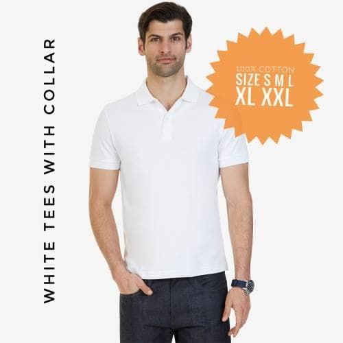 Foto Produk Kaos Putih Kerah Full Katun XS S M L XL XXL dari Fat Fast