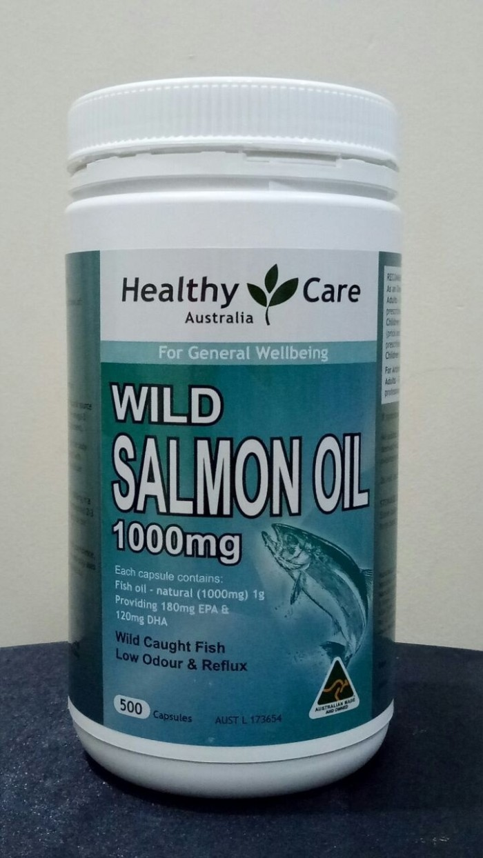 Healthy care wild salmon oil omega 3 1000mg isi 500 kapsul