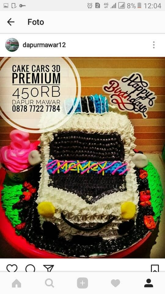 Jual Kue Ulang Tahun Cake Car Cake Ultah Mobil Birthday Cake 3d Jakarta Utara Dapur Mawar 12 Tokopedia