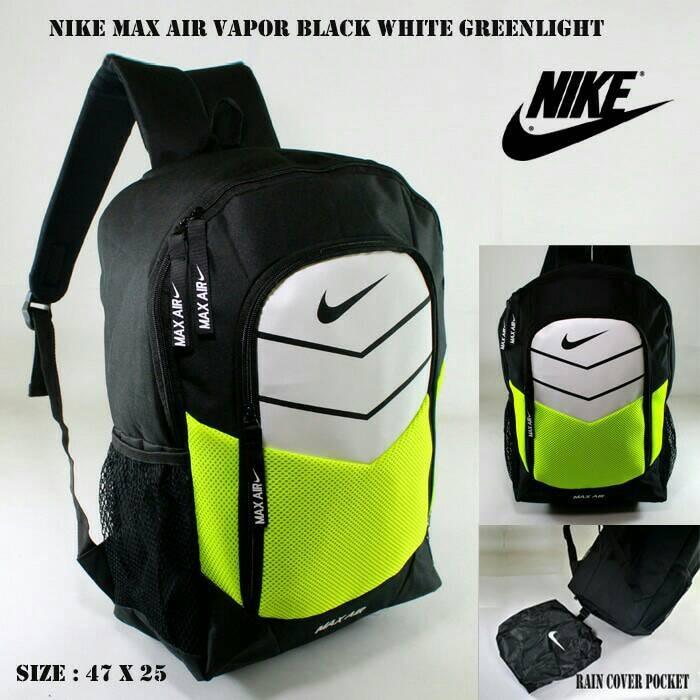 Tas ransel nike max air vapor black white greenlight