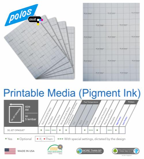 harga Printable media (pigment ink) transfer paper/ kertas/ 3g jet opaque a4 Tokopedia.com