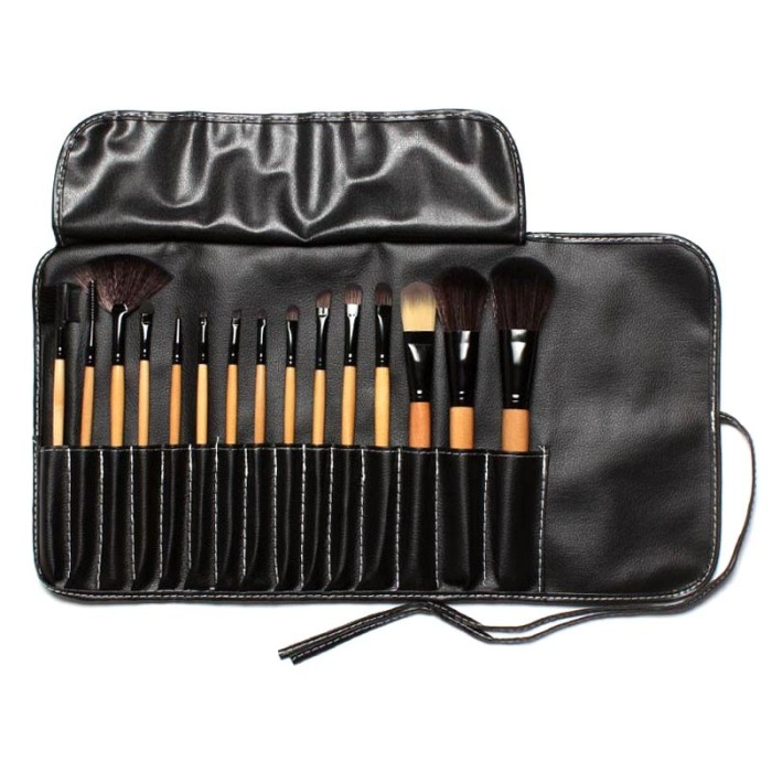 Set kuas make up profesional 15 pcs makeup brush pouch - 15pcs wooden