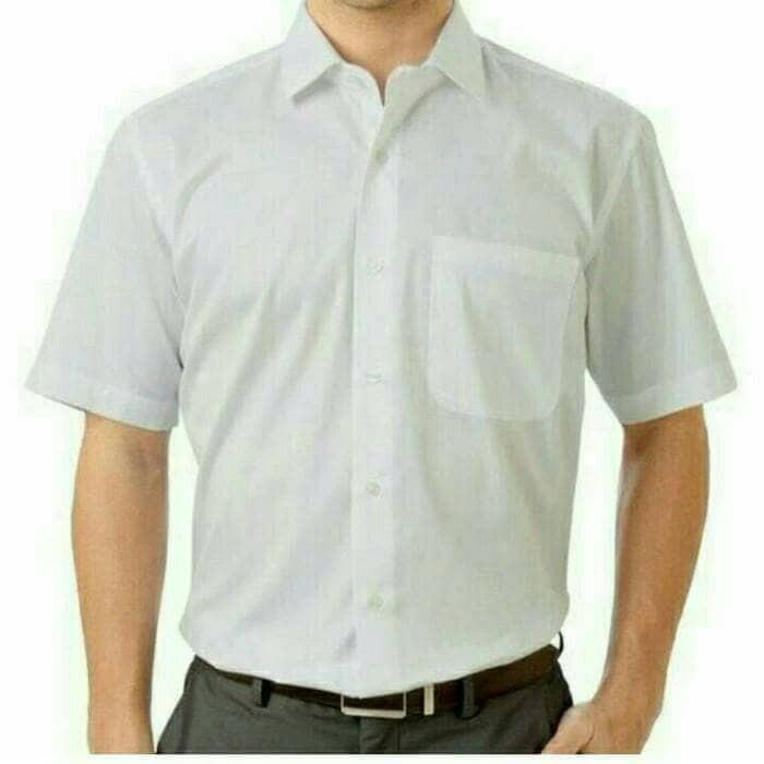 kemeja putih polos lengan pendek pria bahan katun halus