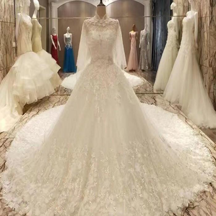 Jual Gaun Pengantin Ekor Panjang Wedding Gown Bahan Brokat Baju