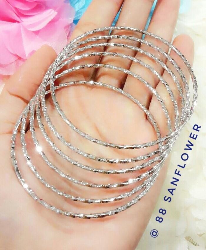 harga Gelang keroncong silver isi 6biji- xuping perhiasan lapis emas putih Tokopedia.com