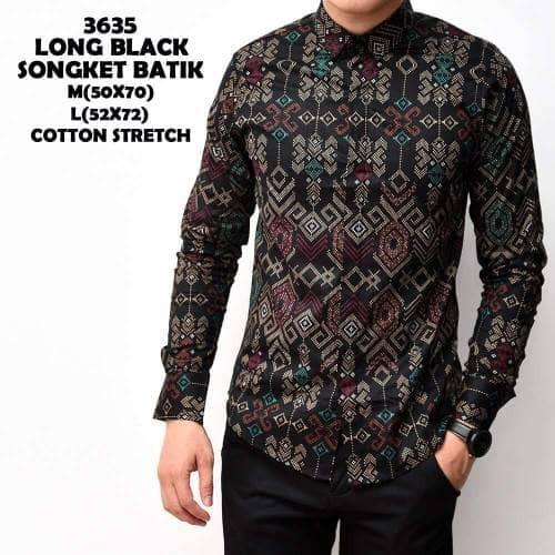 Toko Pedia Baju Batik: Jual Kemeja Batik Songket Pria Black Panjang Kantor