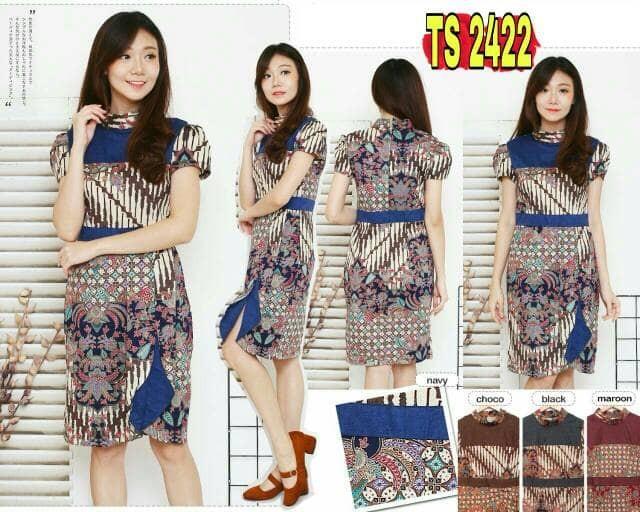 TS2422  Dress Batik Kerja Wanita Katun Stretch Modern Batik Kantor 74866d0544