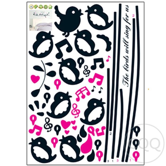 Singing Bird AY7019 - Stiker Dinding / Wall Sticker (50x70)