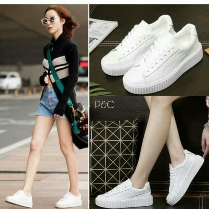 ... harga Puma rihanna putih full grosir sepatu olah raga wanita perempuan  cewek Tokopedia.com 30a5e5e347