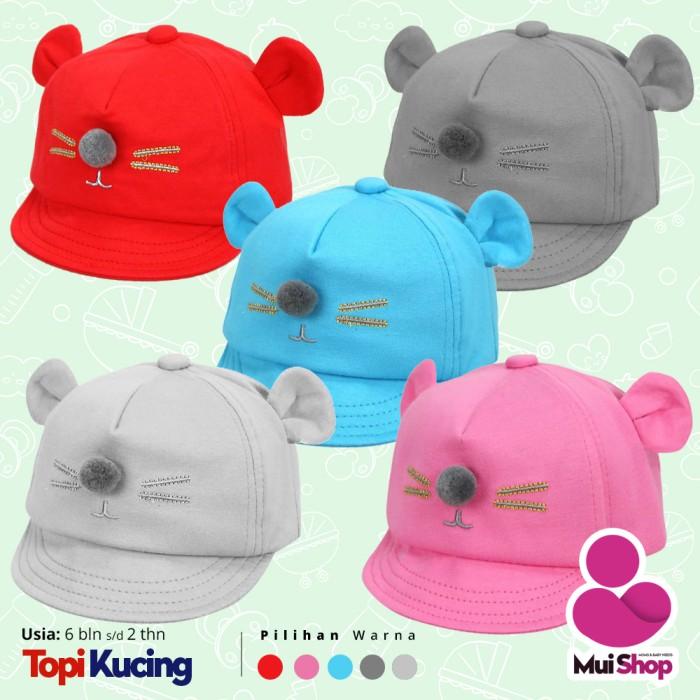 Topi Bayi Laki dan Perempuan (import)   Model Lucu Telinga Kucing - Abu-abu  Muda db4229933b