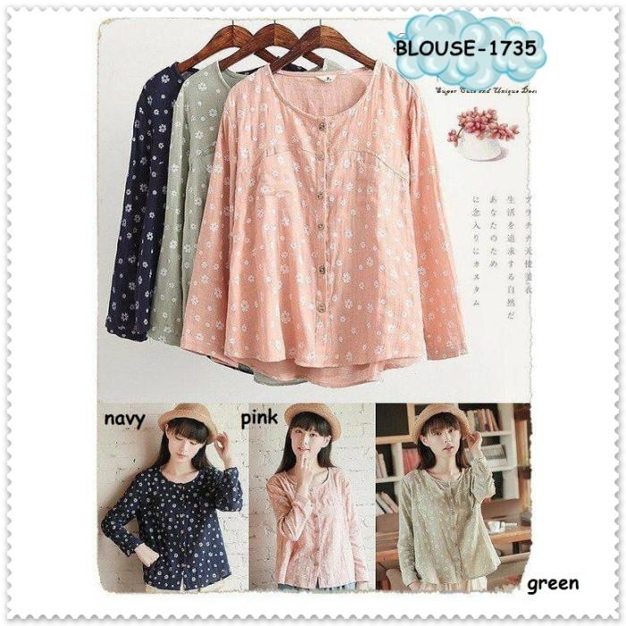 Foto Produk Baju Atasan Lengan Bunga Blouse Korea Import Tunik Blue Green Pink dari Amelie Butik Wholesale