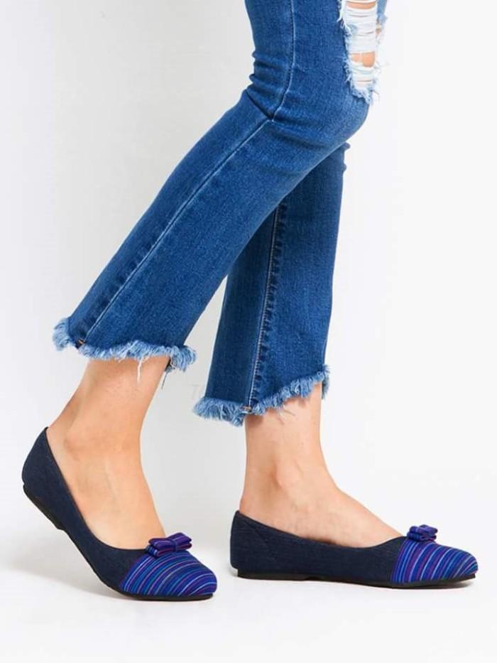 harga Sepatu etnik batik tenun / flat shoes wanita - lurik biru Tokopedia.com