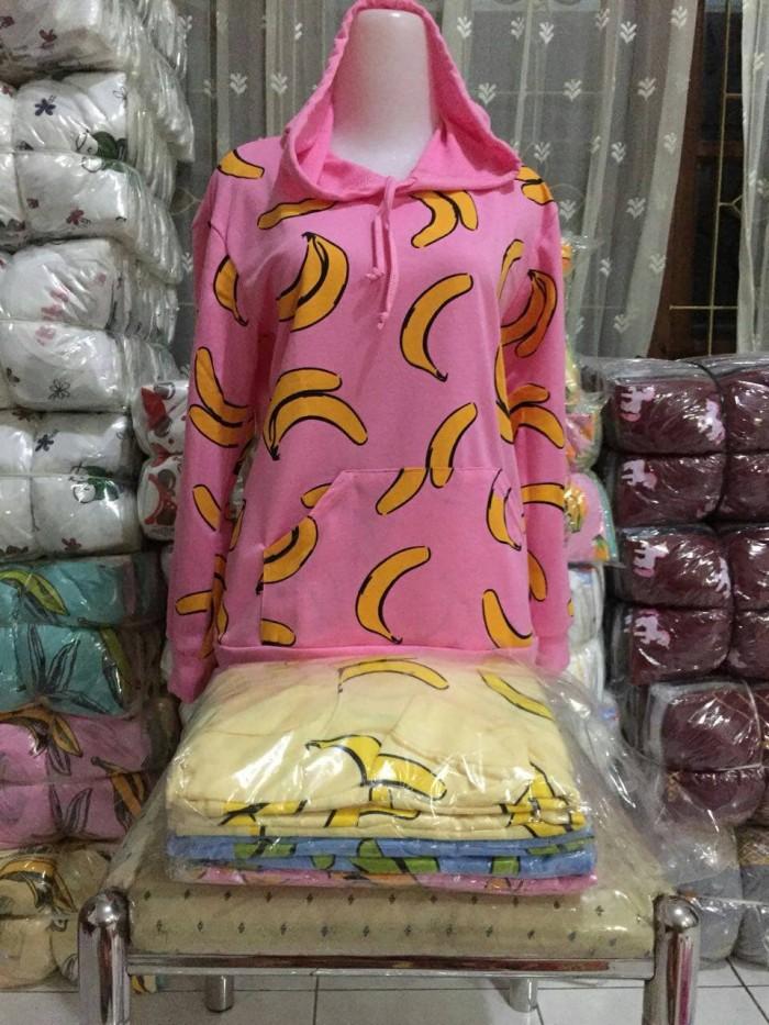 harga Banana Hoodie Pisang Pink Kuning Biru Atasan Tangan Panjang Sweater Tokopedia.com