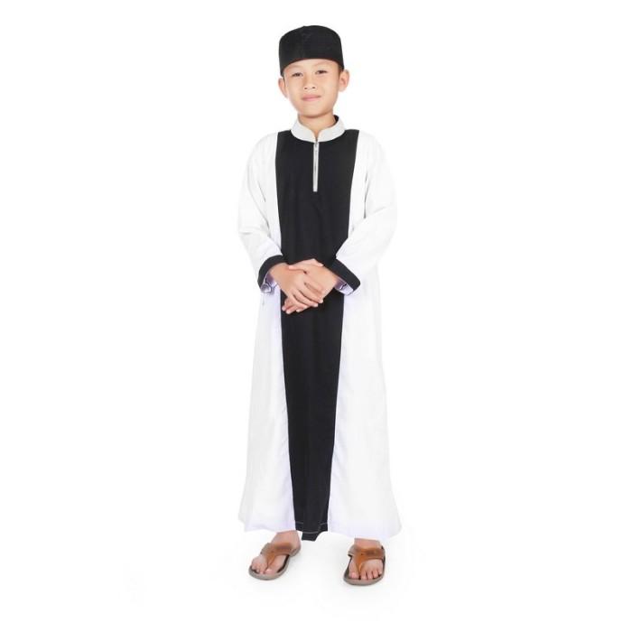Foto Produk BAJUYULI - Gamis Koko Baju Muslim Anak Cowo Murah Hitam Putih KGS02 - M dari Bajuyuli