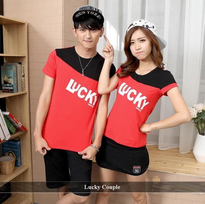 Foto Produk jual baju couple   kaos allsize   kaos katun   kaos premium   lucky cp dari koleksi baju couple