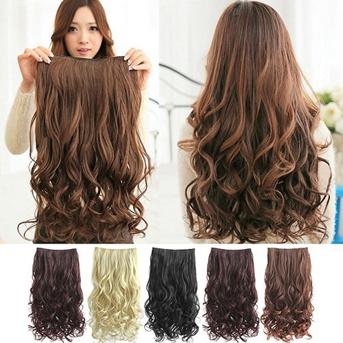 Hair Clip Rambut Palsu Wanita Bergelombang untuk Hair Extension - Light Brown