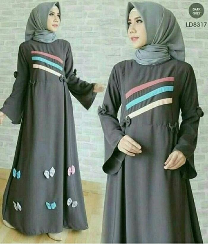 Jual Maxy Tasya Abu Baju Muslim Wanita Modern Gamis Kekinian
