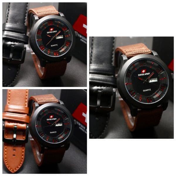 Jam tangan pria Swiss Army paket tali kulit
