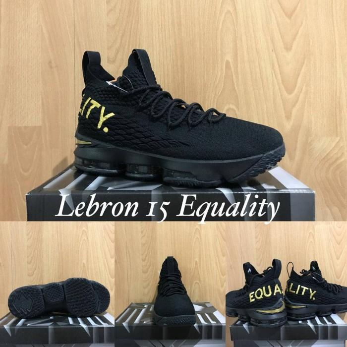 cheaper 21330 acb8e Jual Sepatu Basket Nike LeBron 15 Equality Black Gold Hitam Emas ...