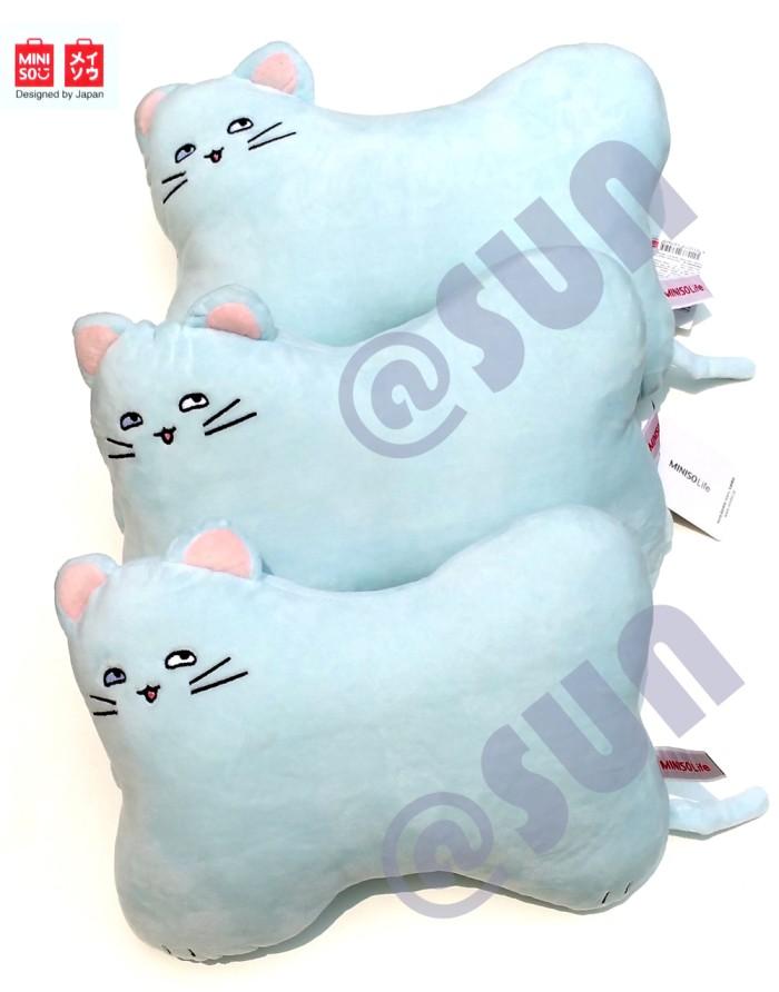 Miniso Bantal Sandaran Kepala Leher Mobil Cat Bone Neck Pillow BLUE .