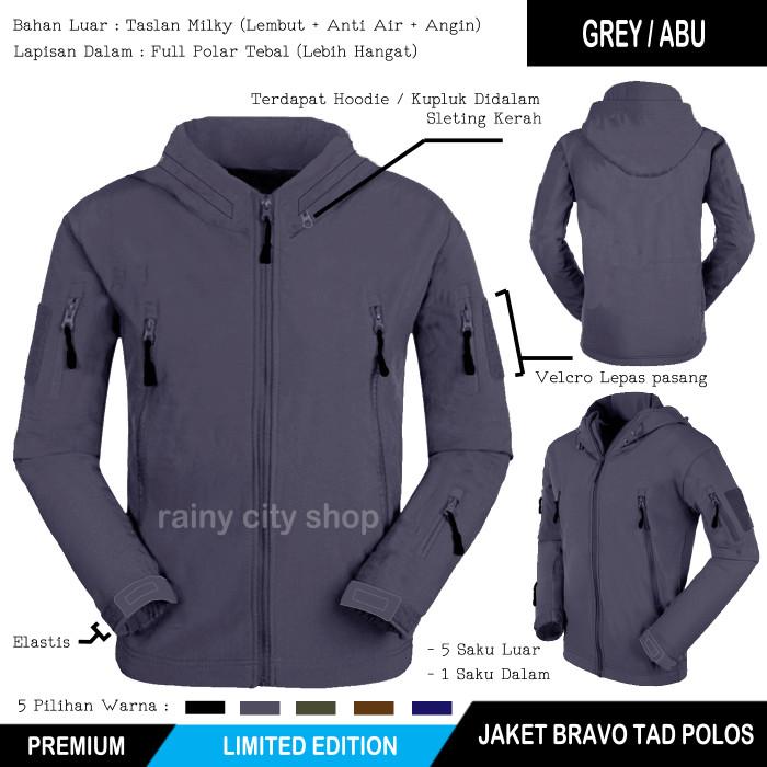 Jaket Bravo Tad Waterproof Polos Grey / Black
