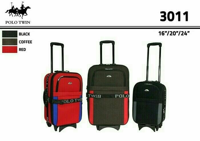 Koper Polo Twin Size 16&20&24 Inch Satu Set Cabin n Bagasi 3 Pcs Koper