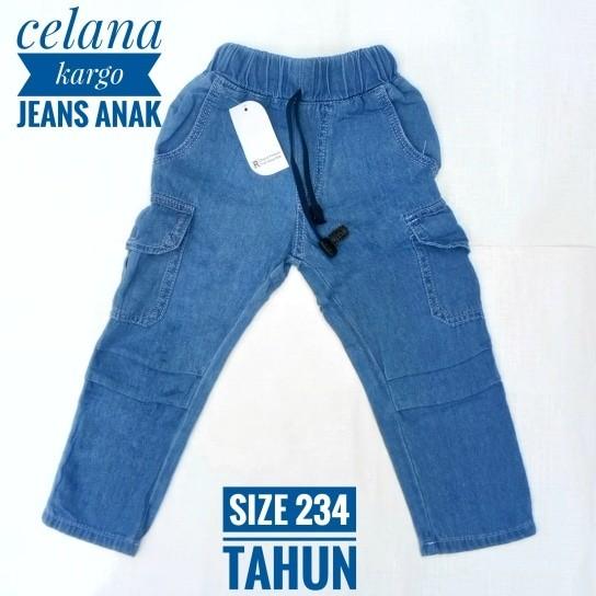 harga 2 3 4 tahun celana panjang kargo anak laki-laki jeans light blue Tokopedia.com