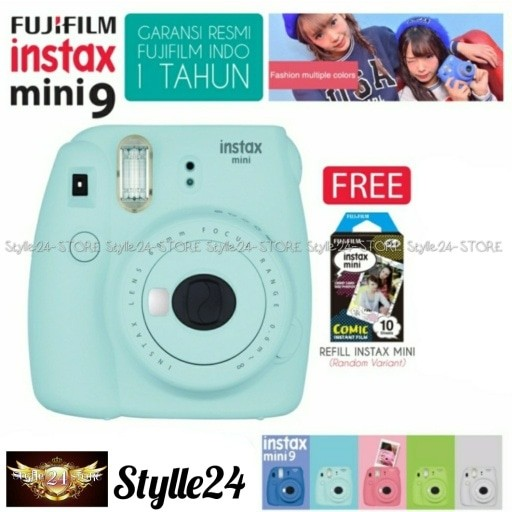 harga Fujifilm instax mini 9 kamera polaroid instant ice blue free film Tokopedia.com