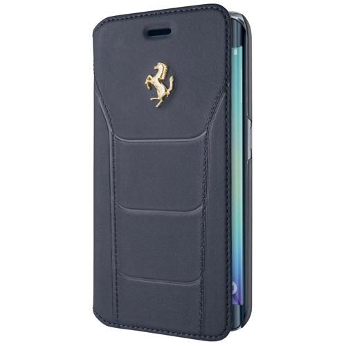 ferrari gold deboss leather booktype - samsung galaxy note fe - blue