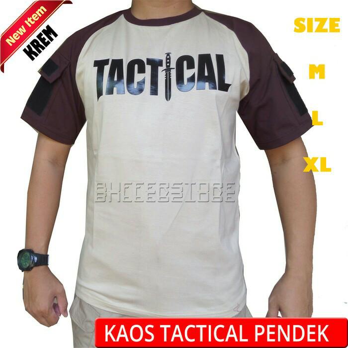 "Foto Produk Kaos ""TACTICAL"" Outdoor pendek warna krem dari zazoulstore"