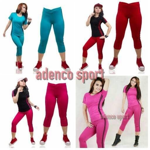 stelan senam pendek /stelan olahraga wanita/baju olahraga / baju senam
