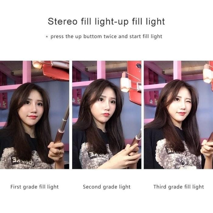harga Tongsis bluetooth selfie stick led fill light flash and mirror kaca a8 Tokopedia.com
