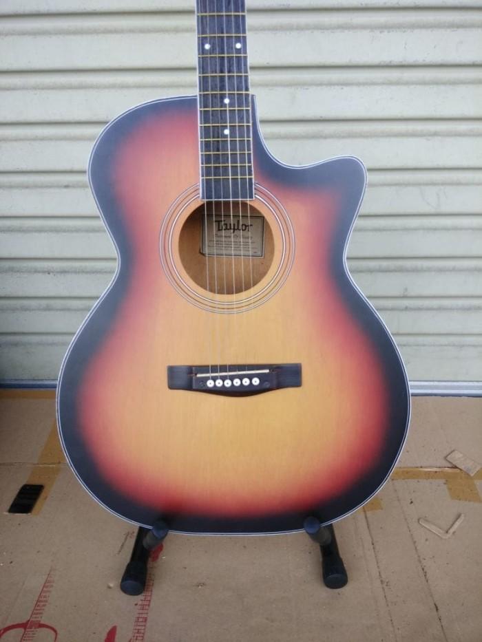 Gitar Akustik Elektrik Merk Taylor Sunburst Eq Pasif Murah