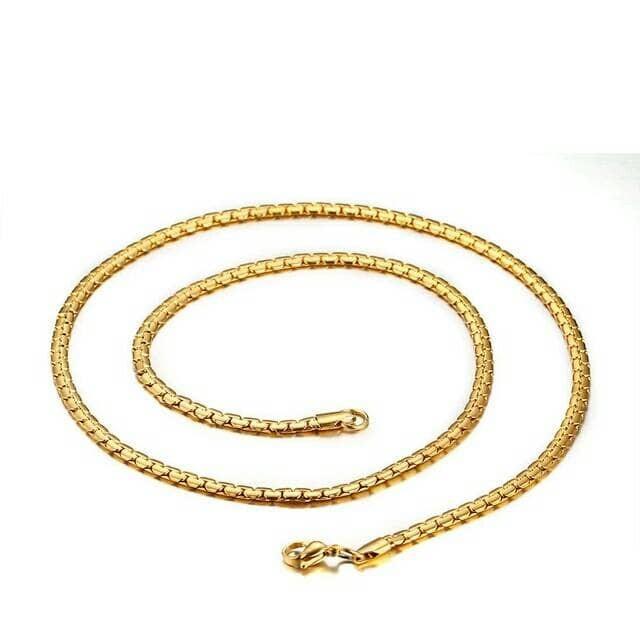 harga Kalung titanium rantai slim gold emas pria wanita Tokopedia.com
