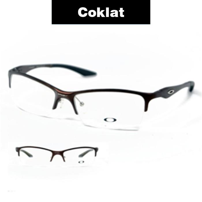 Frame Kacamata Pria Sporty Oakly Titanium Half Tanpa Lensa Minus