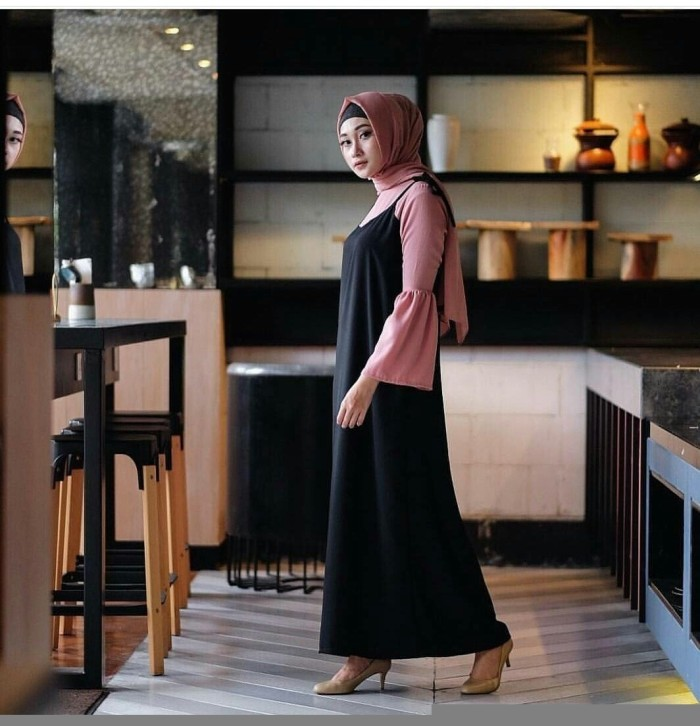 TERMURAH Baju muslim gamis zahira set black mix iner dusty murah
