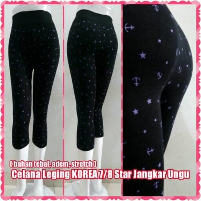 Jual Celana Leging Korea 7 8 Star Jangkar Ungu Legging Pendek Import Jakarta Barat Tiara Markets Tokopedia