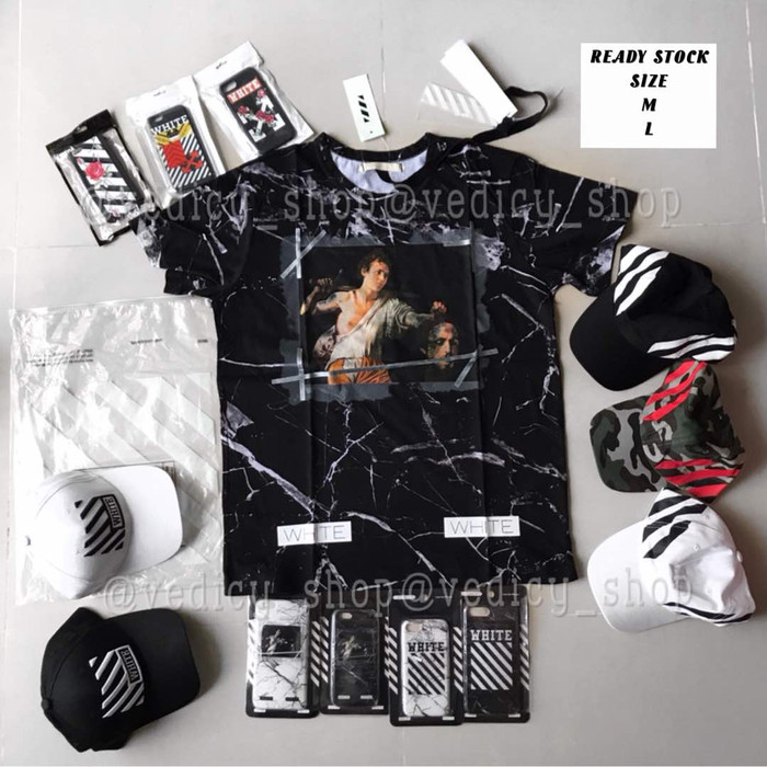 30eeca2d KAOS OFFWHITE MARBLE BLACK PUNISHMENT / OFFWHITE TEE BLACK PUNISHMENT