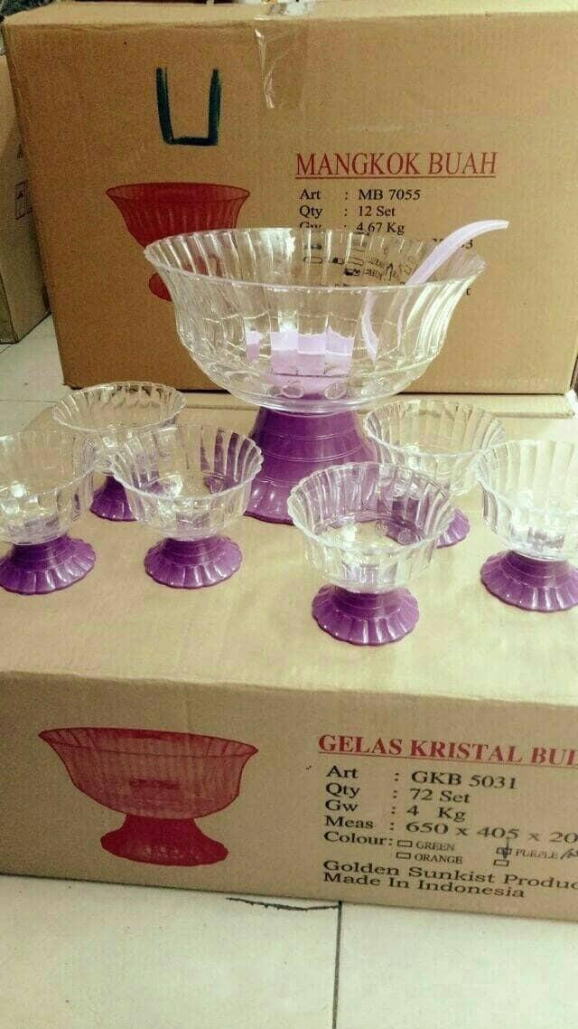 cocktail kristal set / mangkuk sup buah + 6pcs gelas + sendok sup