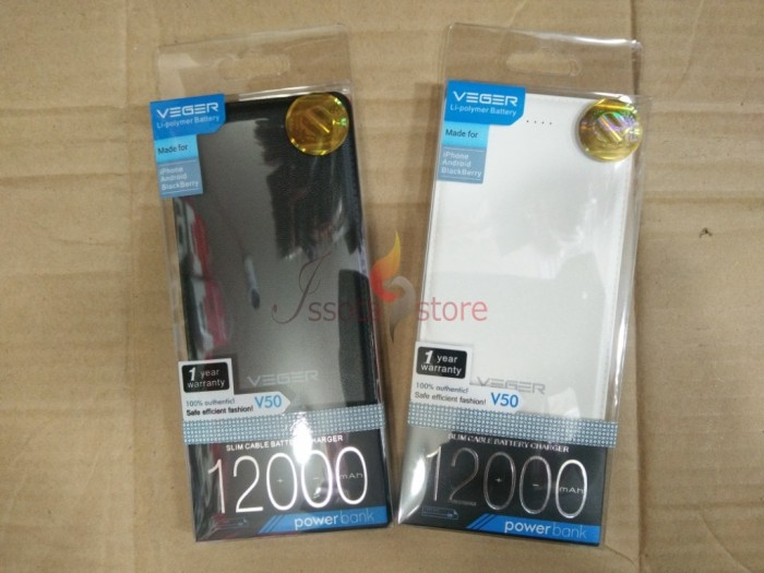 Powerbank VEGER V50 12000mAh Original - Putih