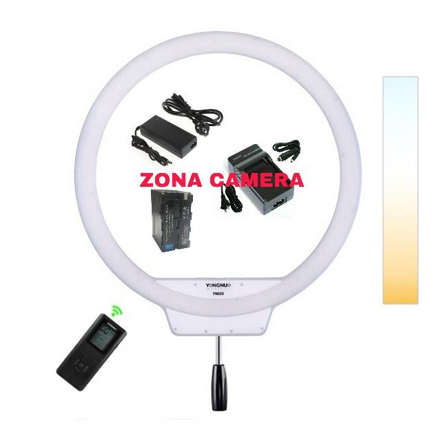 Yongnuo ring light yn608 ringlite + ac adaptor + battery f970+charger