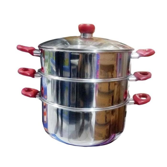Go send - panci kukus serbaguna supra 32cm susun 3 stainless steel