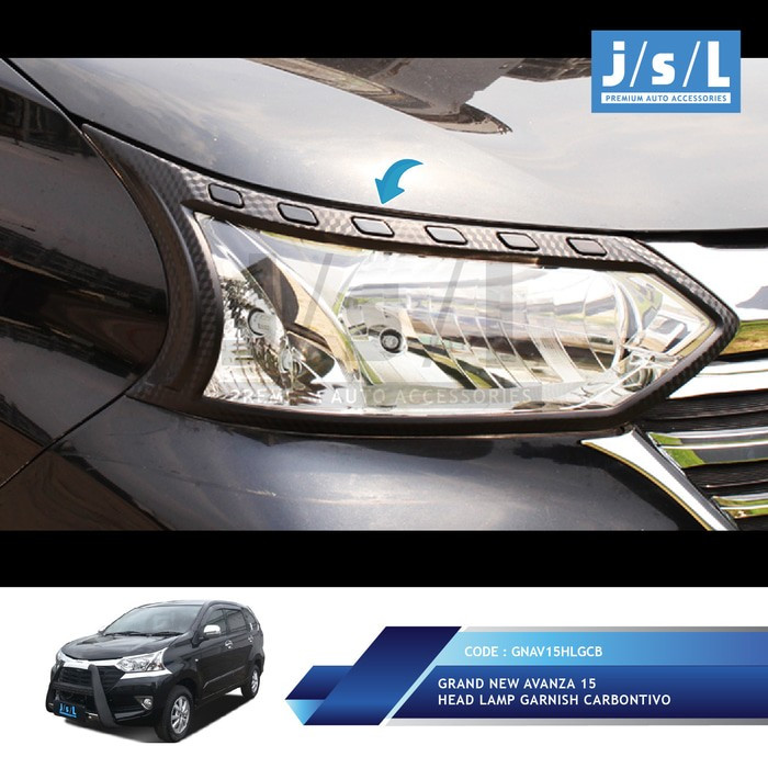 Jual Garnish Lampu Depan List Headlamp Carbon Grand Avanza