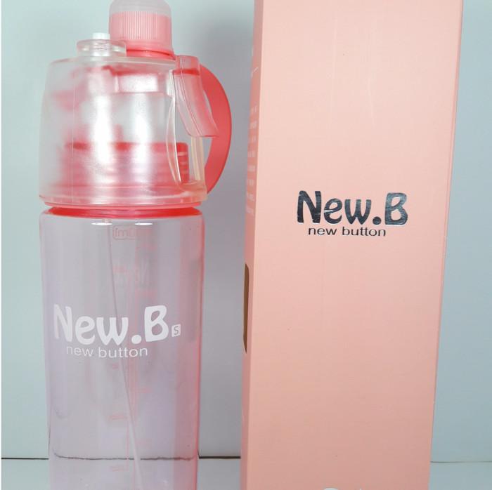New B Sports Spray Water Bottle Kapasitas 600ml Botol Minum Semprot