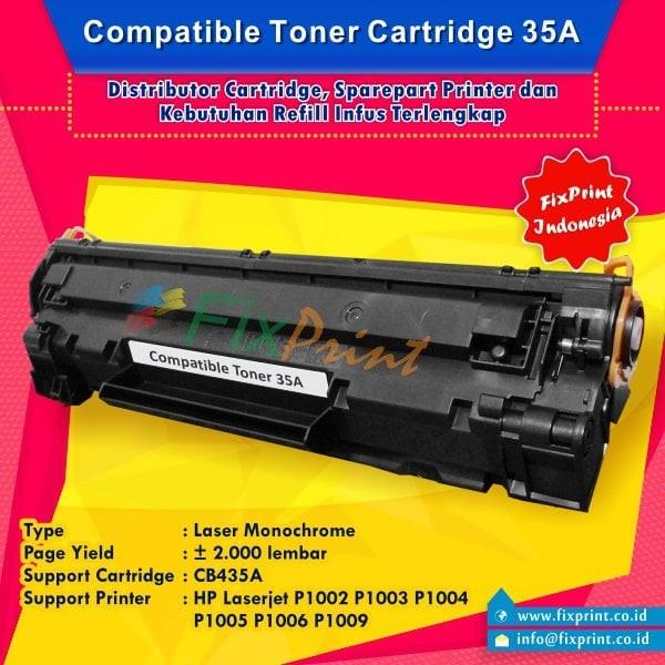 harga Toner hp 35a cb435a black, cartridge compatible printer hp p1005 p1006 Tokopedia.com