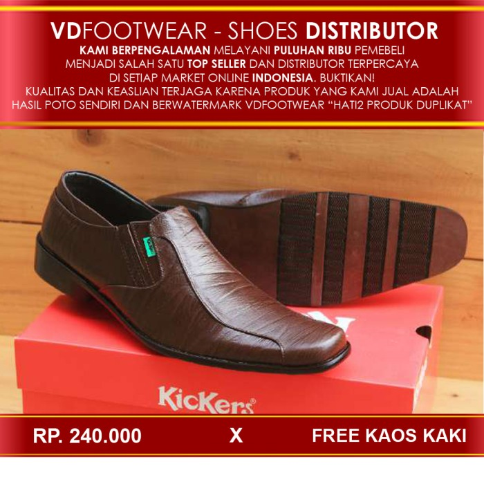 harga Promo sepatu pantofel kickers kulit / pantopel / pantovel brown Tokopedia.com