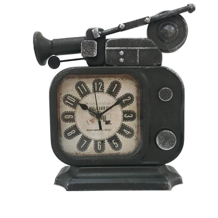 harga Vintage retro old tv radio shape iron metal table clock Tokopedia.com